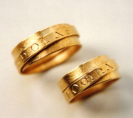federnde Bänder • Gold 900 • mit Handgravur an der Außenseite