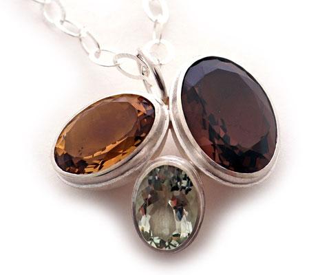 Juwelen-Nest • Halsschmuck 2020 • Silber, Citrin, Rauchquarz, Prasiolith