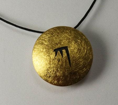 sun & moon KA Ø 20 mm • Gold 999, Silber teils geschwärzt