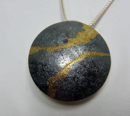 Goldader Ø 24 mm • Silber geschwärzt, Gold