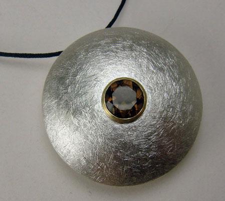 Golden Jewel Ø 30 mm • Silber, Gold 750, Rauchquarz Ø 7 mm