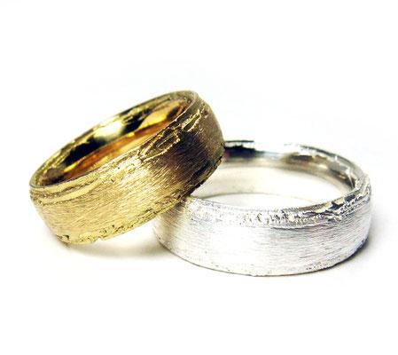 Baumrinde • Damenring: Klassik-Gold 750, Herrenring: Silber 935