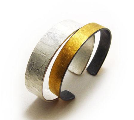 gesso & goldenes Band • Armspangen 2018 • Silber & Feingold, Silber geschwärzt • private collection