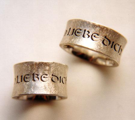 Diamantstruktur • Silber 925 • Schrift mit Laubsäge gesägt