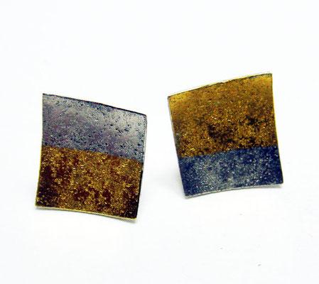 Goldsilbergranit • Ohrstecker 2016 • Gold 999, Silber