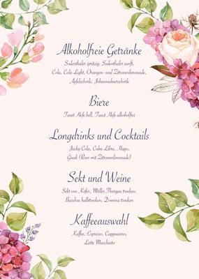 Getränkekarte Hochzeit Stephanie&Daniel