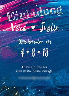 Einladung Vorderseite Justin&Vera
