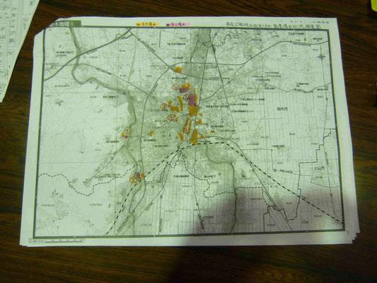 栃木市街、浸水MAP