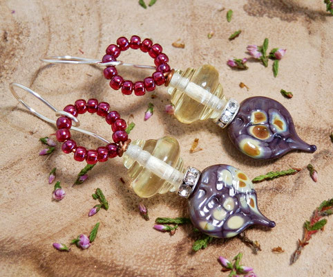 Purple fairy earrings, Belladonna earrings, yellow fairy earrings, botanical inspired, forrest earrings, nature inspired, fantasy, cosplay