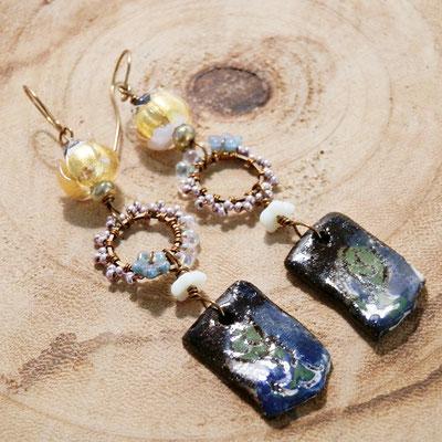 zeemeermin oorbellen van keramiek, handgemaakte fantasy sieraden van keramiek