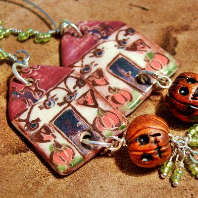 halloween oorbellen van keramiek, handgemaakte fantasy sieraden van keramiek