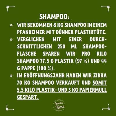 Unverpackt Einkaufen - Ersparnis an Plastik bei Shampoo