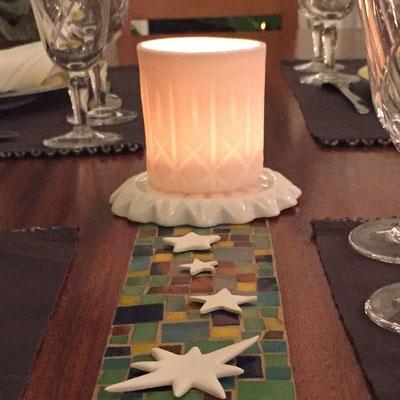 Décors de table de Noël. Porcelaine. Brigitte Morel