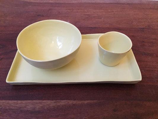 Plateau déjeuner. Porcelaine. Brigitte Morel