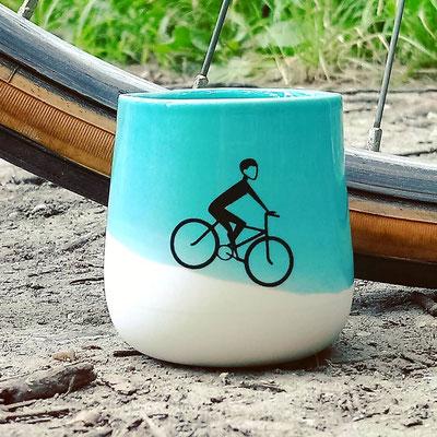 Bauchige Tasse, Radfahrer