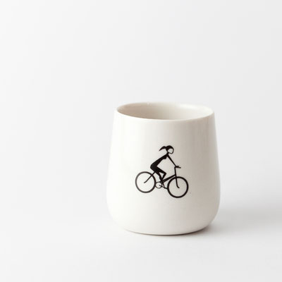 Tasse, bauchig - Radfahrerin