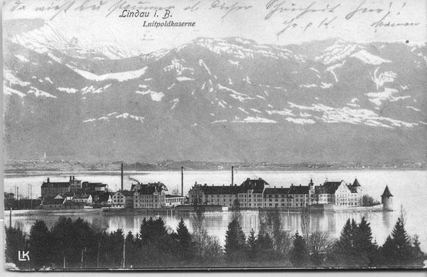 Die Luitpold-Kaserne, um 1905. Das Foto wurde vom Hoyerberg aufgenommen.