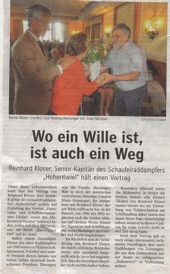 """Lindauer Zeitung (Vereinsseite) 30.05.2018: Vortrag Sen.Kapitän Kloser """"Phönix aus der Asche"""""""