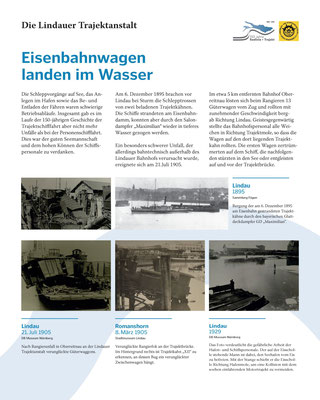 Tafel 8: Eisenbahnwagen landen im Wasser - Unfälle der Trajektschifffahrt; Text S.Stern; Design & Layout lighthouse Lindau; Druck J.Soldatkin Lindau