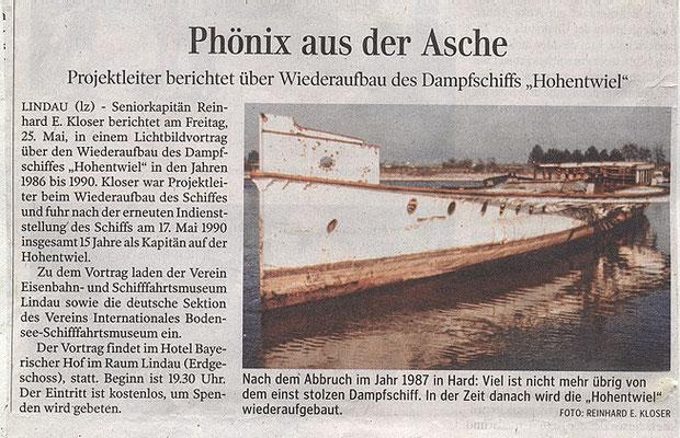 """Lindauer Zeitung 19.05.2018: Vortrag Sen.Kapitän Kloser """"Phönix aus der Asche"""""""