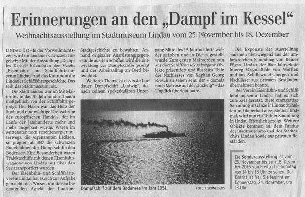 "Lindauer Zeitung 21.11.2016: Ankündigung Ausstellung ""Dampf im Kessel"""