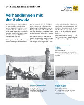 Tafel 3: Verhandlungen mit der Schweiz zur Aufnahme des Eisenbahn-Fährverkehrs zwischen Lindau und Romanshorn; Text S.Stern; Design & Layout lighthouse; Druck J.Soldatkin