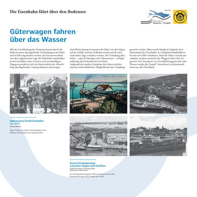 Tafel 11: Güterwagen fahren über das Wasser - Verknüpfung der Bahnhöfe mit den Seehäfen; Text S.Stern; Design & Layout lighthouse; Druck J.Soldakin