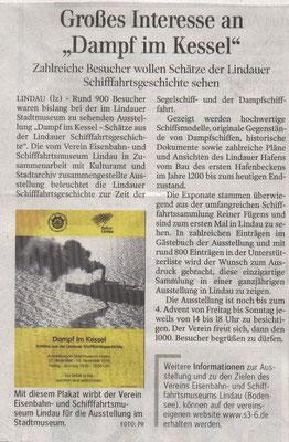 """Lindauer Zeitung 16.12.2016: Ausstellung """"Dampf im Kessel"""""""