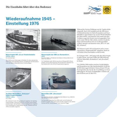 Tafel 15: Wiederaufnahme des Fährverkehrs 1945 - Einstellung 1976; Text S.Stern; Design & Layout lighthouse; Druck J.Soldakin