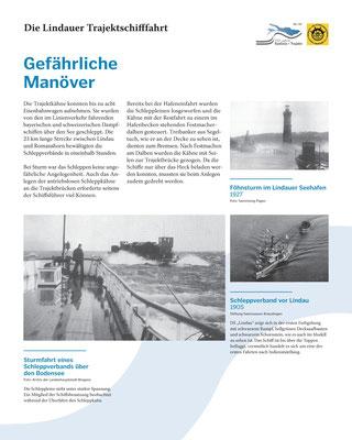 Tafel 4: Gefährliche Manöver - Aufnahme des Fährverkehrs mit Schleppbooten; Text S.Stern; Design & Layout lighthouse; Druck J.Soldatkin