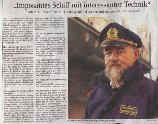 """Lindauer Zeitung 29.05.2018: Vortrag Sen.Kapitän Kloser """"Phönix aus der Asche"""""""