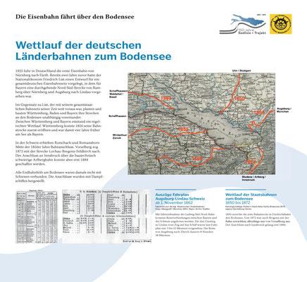 Tafel 10: Wettlauf der deutschen Länderbahnen zum Bodensee; Text S.Stern; Design & Layout lighthouse; Druck J.Soldakin