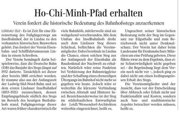 Lindauer Zeitung, 21.11.2018: Erhalt des Poststegs  von 1880 am Inselbahnhof