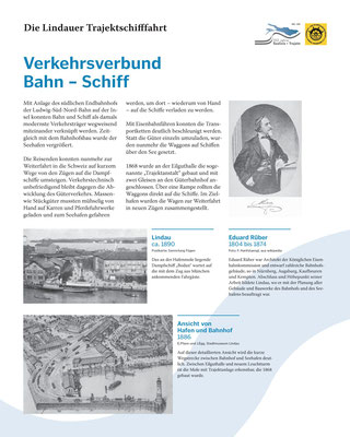 Tafel 2: Verkehrsverbund Bahn-Schiff - Neubau Bahnhof Lindau und Ausbau Seehafen Lindau; Ausbau Text S.Stern; Design & Layout lighthouse; Druck J.Soldatkin