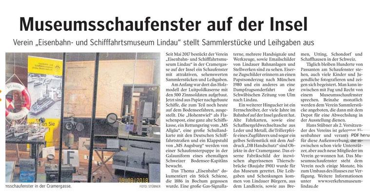 Lindauer Zeitung 11.10.2018: Vereins-Schaufenster auf der Insel Lindau