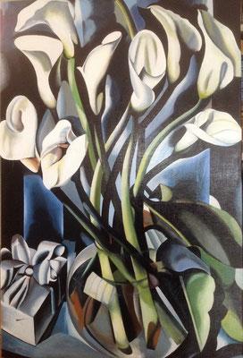Calla Lillies, naar Tamara de Lempicka, olieverf op linnen, 60x90 cm., 1.050,00 euro, met lijst.