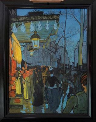 Avenue de Clichy, naar Alfed Anquetin, olieverf op paneel, 69 x 53 cm., 900,00 euro, met lijst.