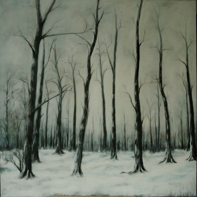 Bevroren bos, Acryl op linnen, 100 x 100 cm., 850,00 euro