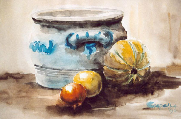 Stilleven met keulse pot, aquarel op papier, 30 x 50 cm., 125,00 euro