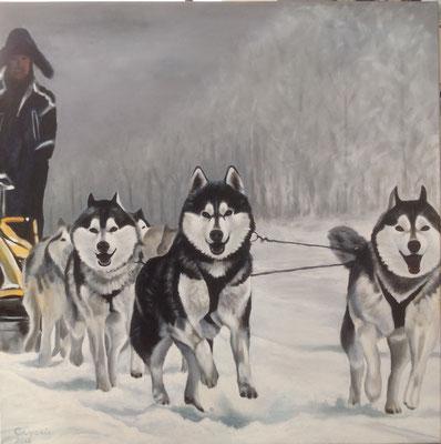 Sledehonden, Acryl op linnen, 100 x 100 cm. verkocht