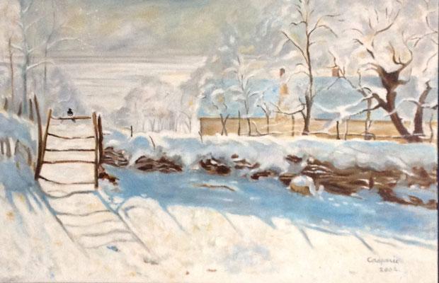De Ekster, naar Claude Monet, olieverf op linnen, 60x90 cm., 1.050,00 euro, met lijst.
