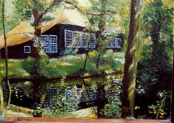 De zwarte schuur in Bergen, olieverf op paneel, 40 x 50 cm. 275,00 euro