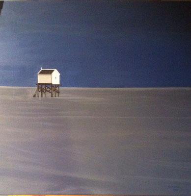 Strandhuisje, olieverf op linnen, 90x90 cm.,  met lijst, verkocht