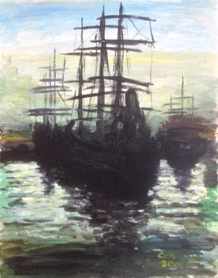 Oude zeilschepen, Aquarel op papier, A2 formaat, 75,00 euro