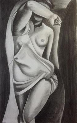 The Model, naar een schilderwerk van T.de Lempicka, houtskool op papier, ingelijst met passepartout, 60 x 80 cm., 250,00 euro