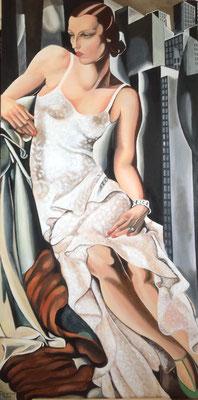 Mrs. Allan Bott, naar Tamara de Lempicka, olieverf op linnen, 60 x 120 cm., 1.000,00 euro