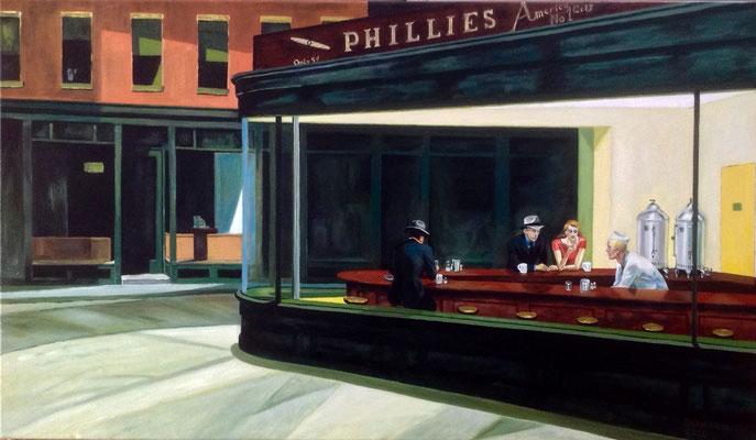 Nighthawks, naar Edward Hopper, olieverf op linnen, ingelijst,  70 x 120 cm., 1400,00 euro