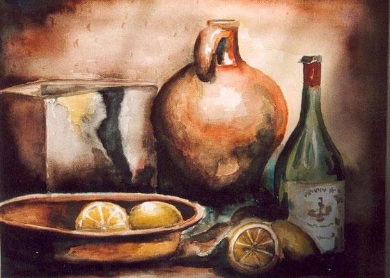 Stilleven met citroenen, aquarel op papier, A3 formaat, 125,00 euro