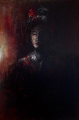Geisha 6, acryl op linnen, 60 x 90 cm, met lijst, 450,00 euro