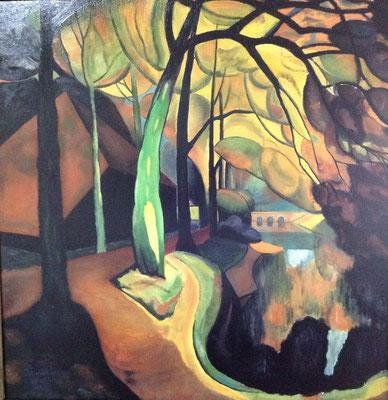 De Zwarte schuur, naar Gerrit van Bladeren (Bergense school), olieverf op paneel, 90x90 cm., 750,00 euro